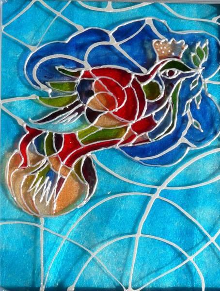 Vitrage Wall Art - Painting - Bird Of Peace- Vitrage by Sandrine Kespi