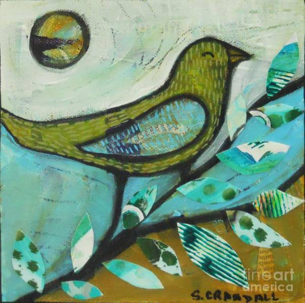 Green Winged Teal Mixed Media - Bird On A Branch by Shannon Crandall
