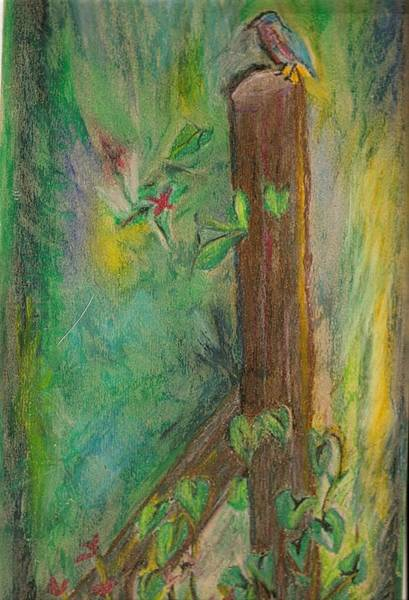 Fencepost Painting - Bird On A Fence Post by Barbara Cleveland