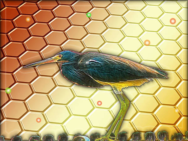 Beehive Digital Art - Bird Ponders The Disappearing Bees And Several Biological Markers Left In The Hive by Wendy J St Christopher