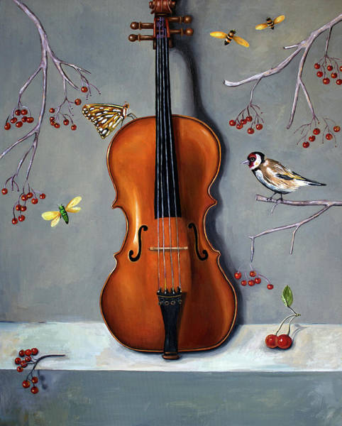 Violin Wall Art - Painting - Bird Song by Leah Saulnier The Painting Maniac