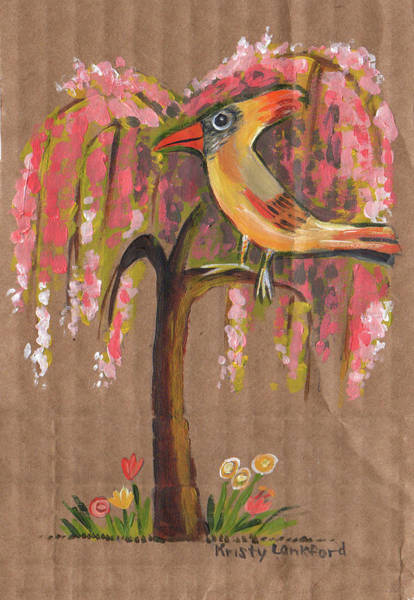 Recycled Materials Painting - Bird Tree by Kristy Lankford