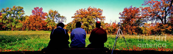 Photograph -  Bird Watchers Bench Fall Crabtree Nature Center Cook County Il  by Tom Jelen