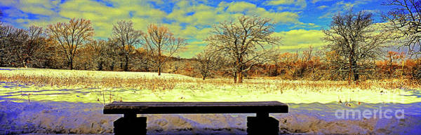 Photograph - Bird Watchers Bench Winter Crabtree Nature Center Cook County Il by Tom Jelen