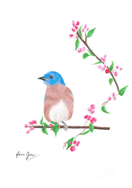 Painting - Minimal Bird And Cherry Flowers by Laura Greco