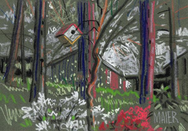 Birdhouse Painting - Birdhouse Barns And Azaleas by Donald Maier