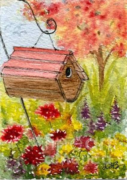 Wall Art - Painting - Birdhouse Series Four by Lisa Bell