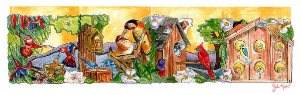 Birdhouse Painting - Birdhouse Tableau by John Keaton