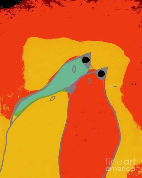 Aqua Digital Art - Birdies - Q11a by Variance Collections