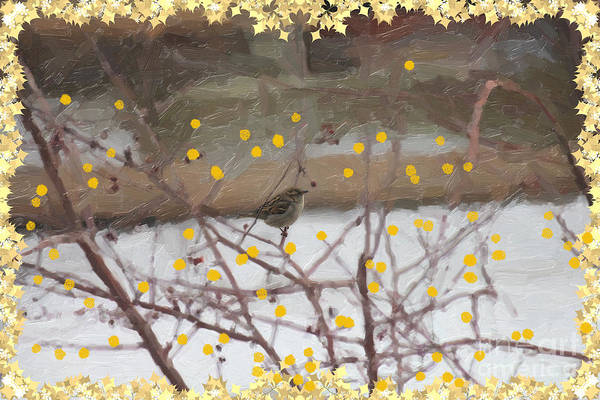 Digital Art - Birdio With Gold Fruit by Donna L Munro
