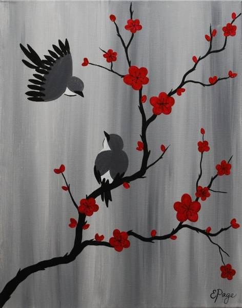 Birds And Blooms In Red Art Print