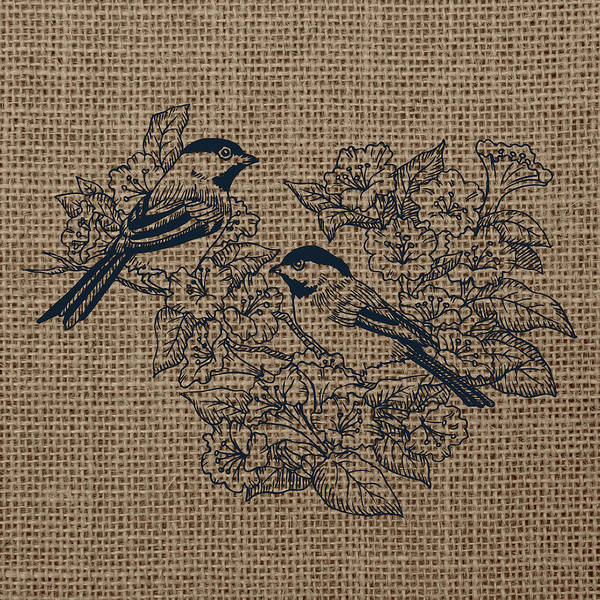 Wall Art - Digital Art - Birds And Burlap 1 by Brandi Fitzgerald