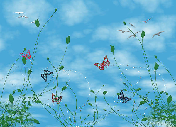 Blue Bug Digital Art - Birds And Butterflies  by Evelyn Patrick