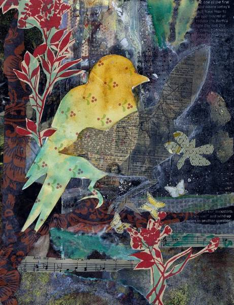 Mixed Media - Birds And Butterflies by Jillian Goldberg