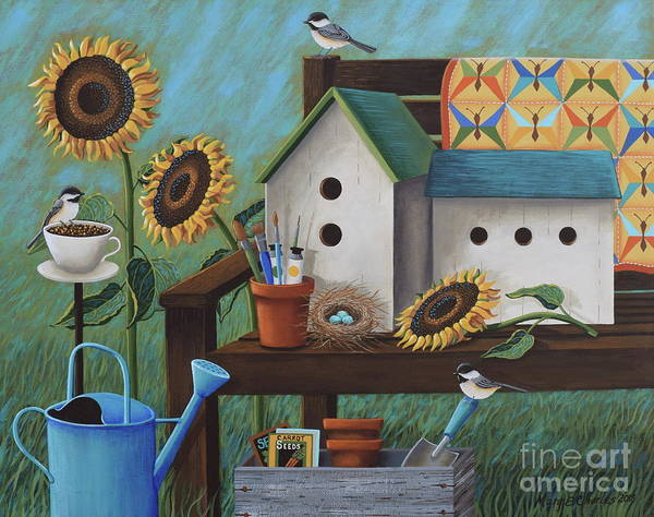 Watering Can Painting - Birds And Butterflies by Mary Charles