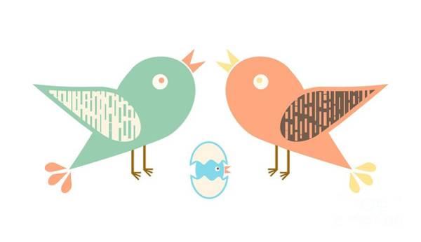 Wall Art - Digital Art - Birds And Egg by Gaspar Avila