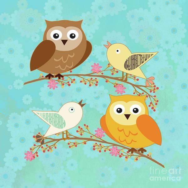 Wall Art - Digital Art - Birds And Owls by Gaspar Avila