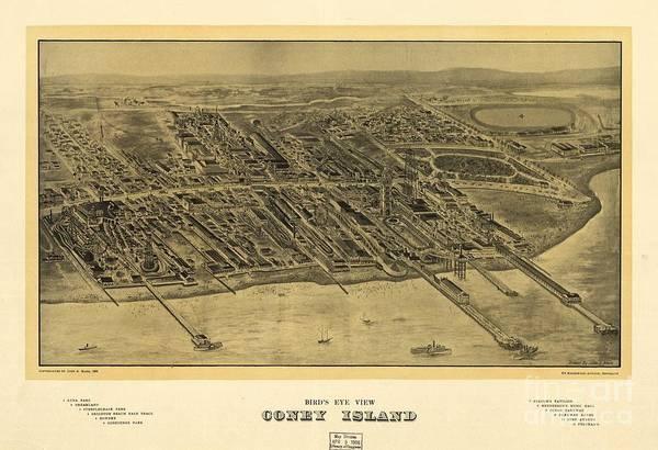 Drawing - Bird's Eye View Coney Island New York by Edward Fielding