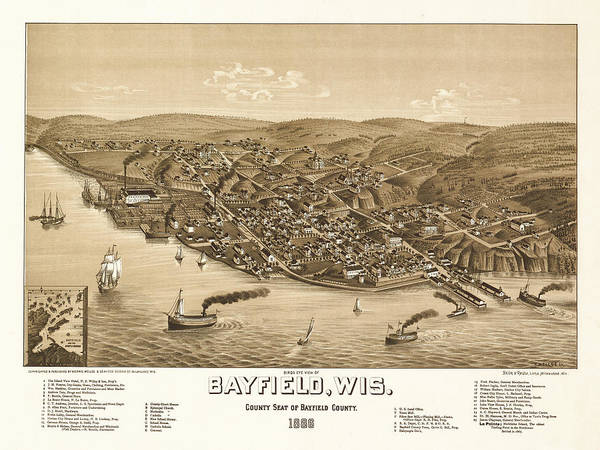 Bayfield Wall Art - Painting - Bird's Eye View Of Bayfield, Wisconsi, County Seat Of Bayfield County 1886 by Wellge