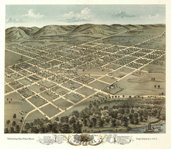 Wall Art - Painting - Bird's Eye View Of Boscobel, Grant Co., Wisconsin 1869 by Ruger