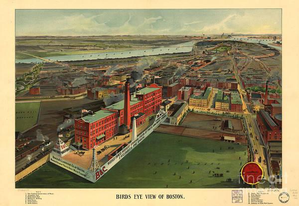 Drawing - Bird's Eye View Of Boston by Edward Fielding