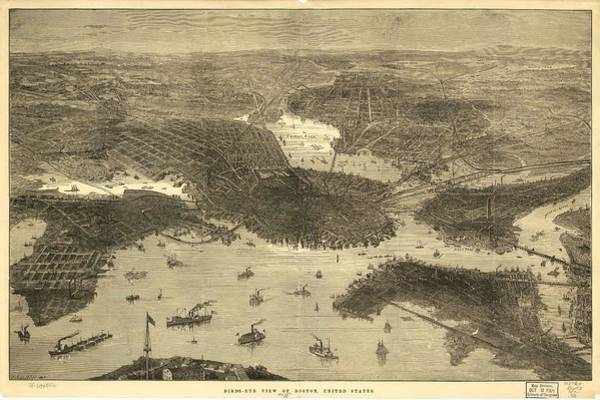 Wall Art - Painting - Bird's-eye View Of Boston, United States by Celestial Images