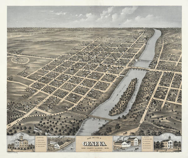 Wall Art - Painting - Bird's Eye View Of Geneva, Kane County, Illinois 1869 by Ruger