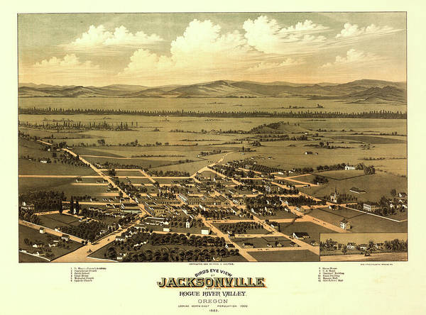 Rogue River Wall Art - Painting - Bird's Eye View Of Jacksonville And The Rogue River Valley, Oregon 1883 by Fred Walpole