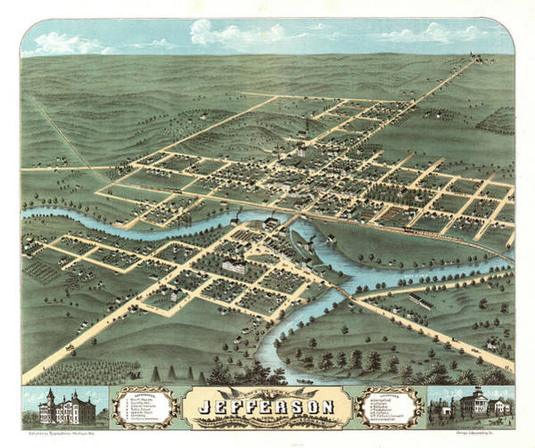 Wall Art - Painting - Bird's Eye View Of Jefferson, Jefferson County, Wisconsin 1870. by Ruger