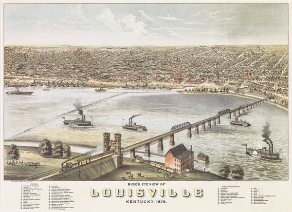 Wall Art - Painting - Bird's Eye View Of Louisville, Kentucky, 1876 by Albert Ruger