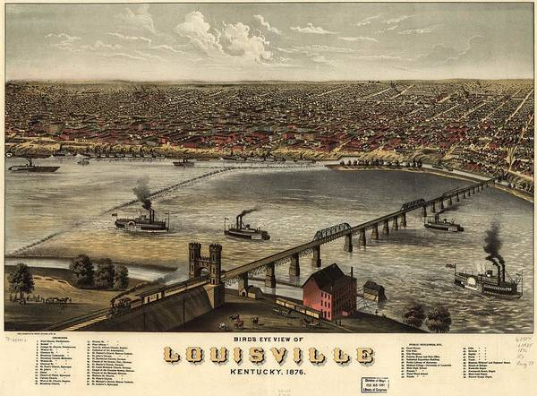 Painting - Birds Eye View Of Louisville Kentucky by Charles Shober