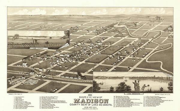 Wall Art - Painting - bird's eye view of Madison, county seat of Lake County, Dakota by Brosius