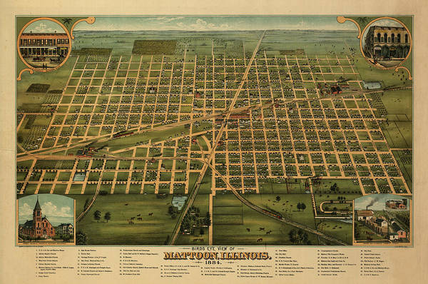 Wall Art - Painting - Birds Eye View Of Mattoon, Illinois 1884 by Smith