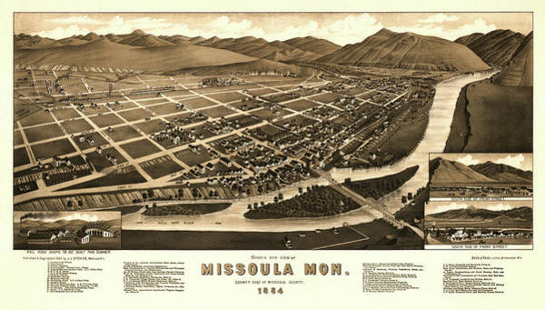 Wall Art - Painting - Bird's Eye View Of Missoula, Mon. County Seat Of Missoula County 1884 by Henry Wellge