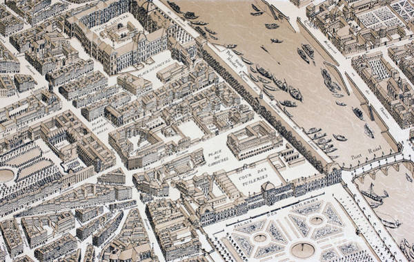 Drawing - Bird's Eye View Of Paris In 1730 by French School