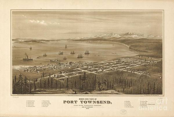 Port Townsend Painting - Bird's Eye View Of Port Townsend by MotionAge Designs