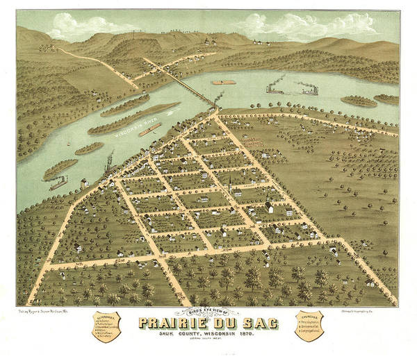 Wall Art - Painting - Bird's Eye View Of Prairie Du Sac, Sauk County, Wisconsin 1870 by Ruger