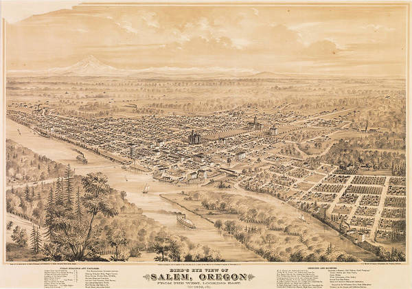 Wall Art - Painting - Bird's Eye View Of Salem, Oregon From The West, Looking East. 1876 by Eli Sheldon Glover