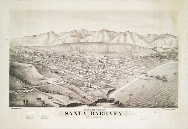Wall Art - Photograph - Birds Eye View Of Santa Barbara California 1877 by Ricky Barnard