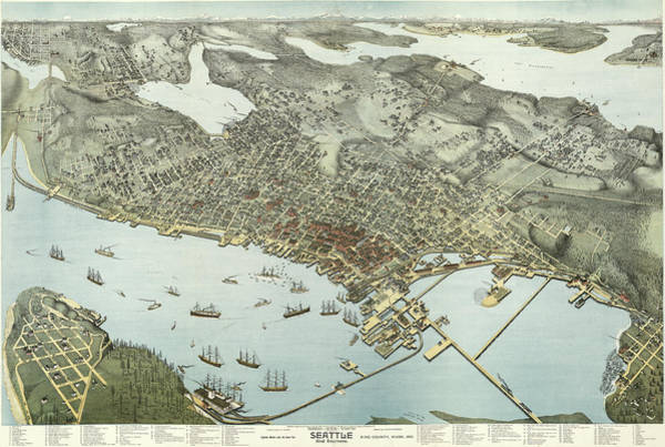 Wall Art - Painting - Birds-eye-view Of Seattle And Environs King County, Wash., 1891 by Augustus Koch