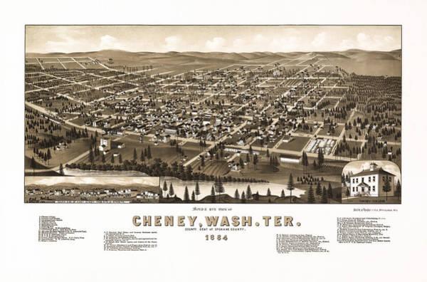 Photograph - Vintage Map Of Cheney Washington by Mark Kiver