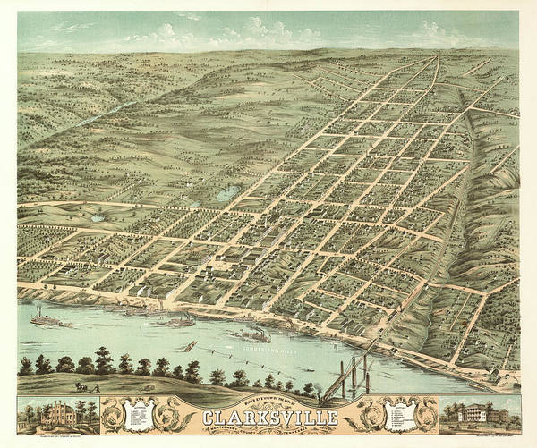 Wall Art - Painting - Bird's Eye View Of The City Of Clarksville, Montgomery County, Tennessee 1870 by Ruger