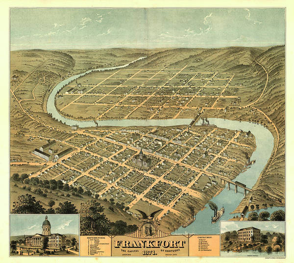 Wall Art - Painting - Bird's Eye View Of The City Of Frankfort, The Capital Of Kentucky 1871 by Norris
