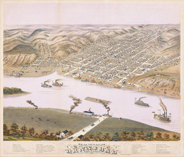 Wall Art - Painting - Bird's Eye View Of The City Of Hannibal, Marion Co., Missouri. 1869 by Albert Ruger