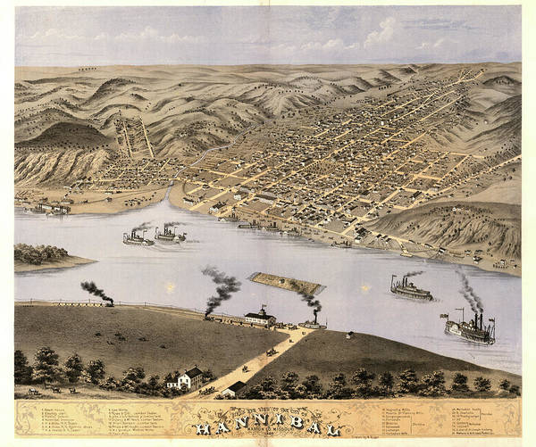 Wall Art - Painting - Bird's Eye View Of The City Of Hannibal, Marion Co., Missouri 1869 by Ruger