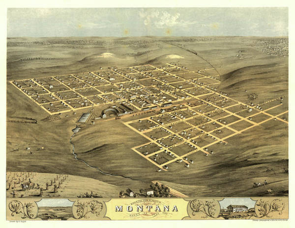 Wall Art - Painting - Bird's Eye View Of The City Of Montana, Boone Co., Iowa 1868 by Ruger
