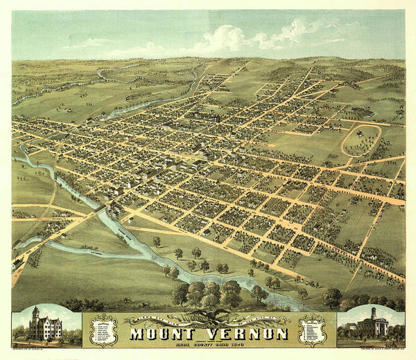 Wall Art - Painting - Bird's Eye View Of The City Of Mount Vernon, Knox County, Ohio 1870 by Ruger