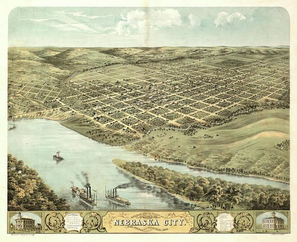 Wall Art - Painting - Bird's Eye View Of The City Of Nebraska City, Otoe County, Nebraska 1868 by Ruger