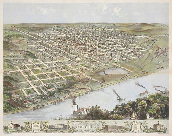 Wall Art - Painting - Bird's Eye View Of The City Of Omaha Nebraska, 1868 by Albert Ruger