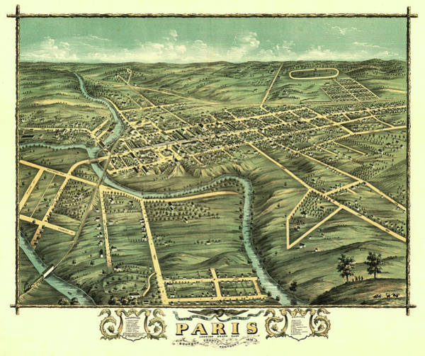 Wall Art - Painting - Bird's Eye View Of The City Of Paris, Bourbon County, Kentucky 1870 by Ruger